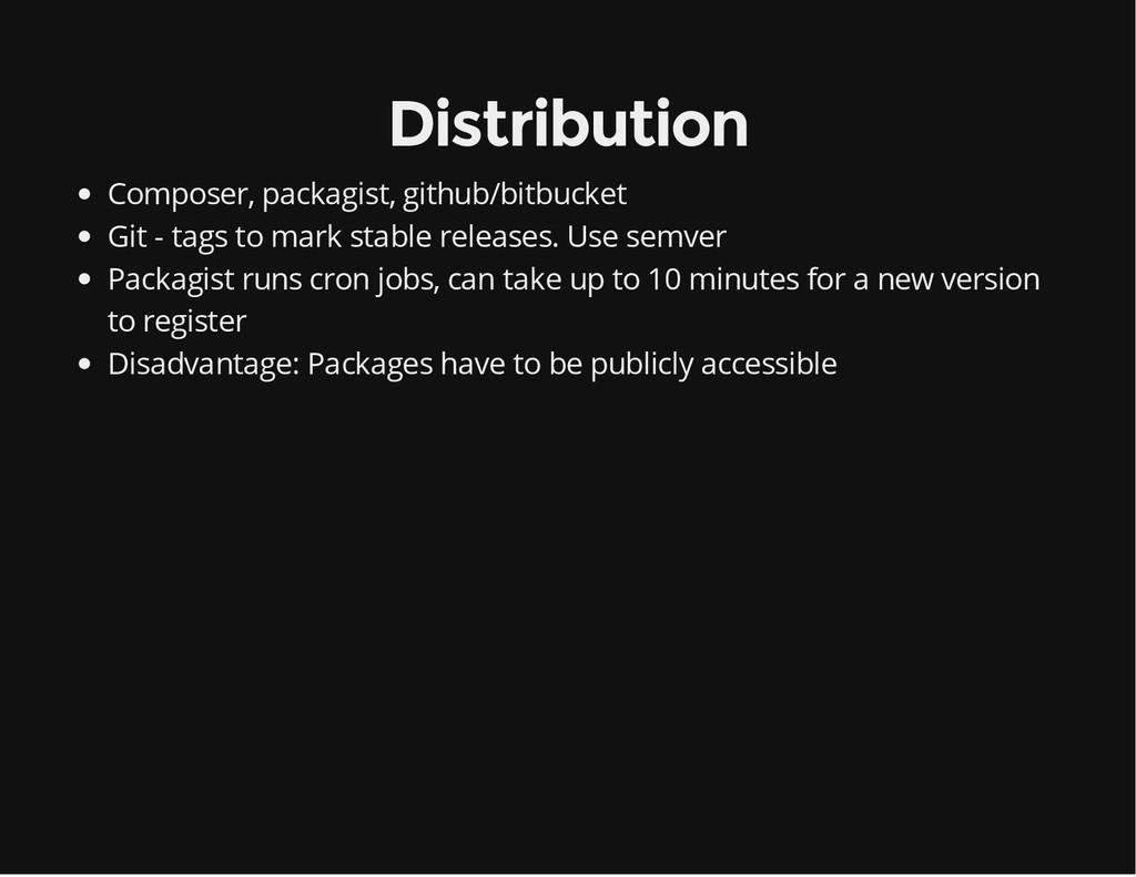 Distribution Composer, packagist, github/bitbuc...