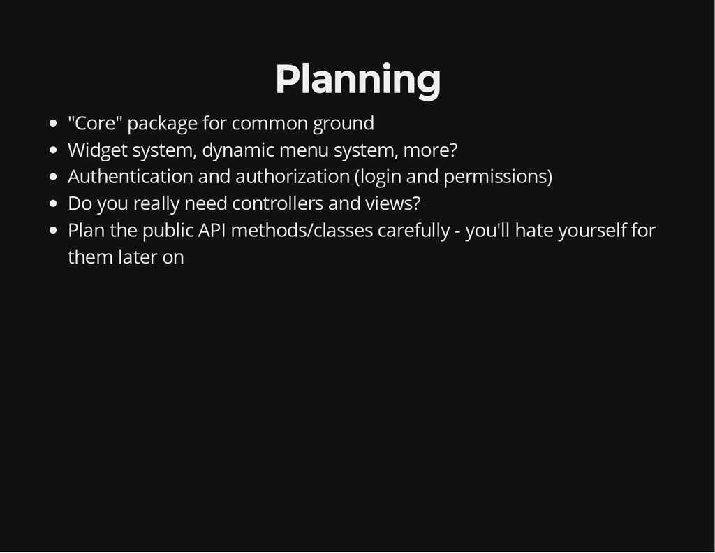 """Planning """"Core"""" package for common ground Widge..."""