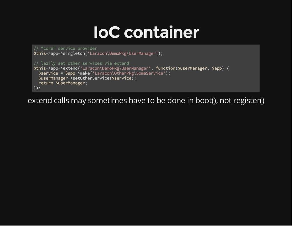 """IoC container // """"core"""" service provider $this-..."""