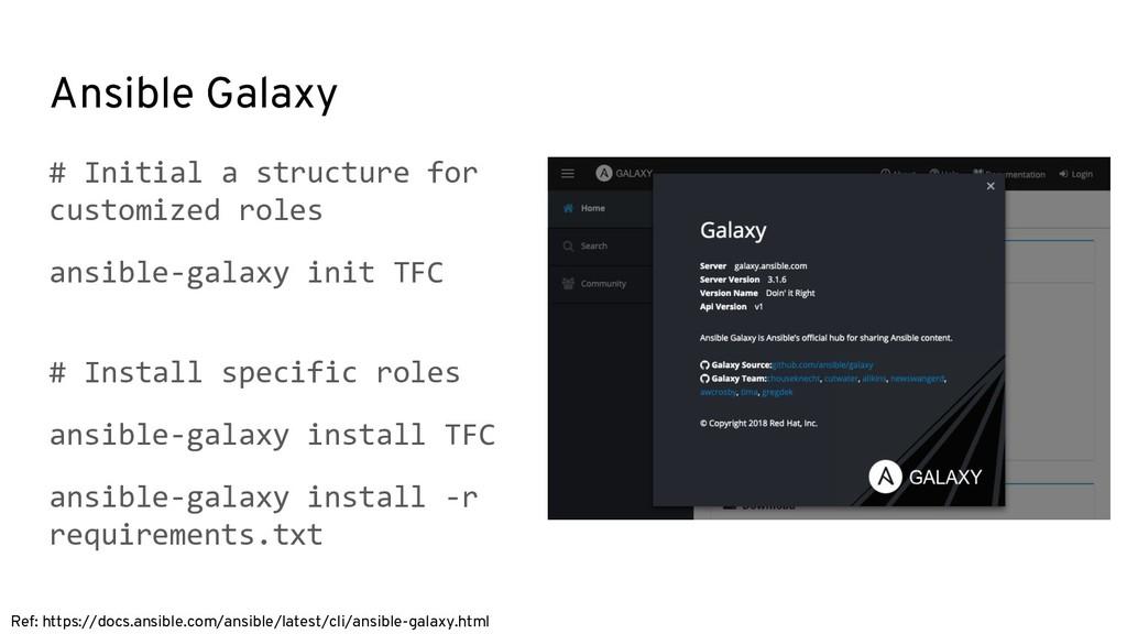 Ansible Galaxy Ref: https://docs.ansible.com/an...