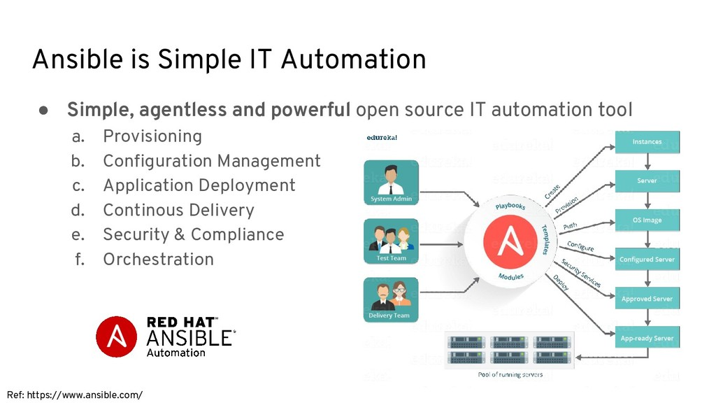 Ansible is Simple IT Automation ● Simple, agent...