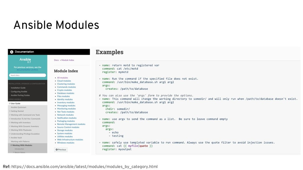 Ansible Modules Ref: https://docs.ansible.com/a...