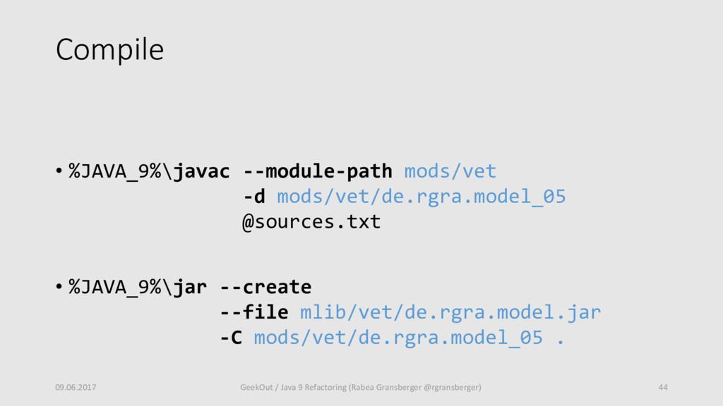 Compile • %JAVA_9%\javac --module-path mods/vet...