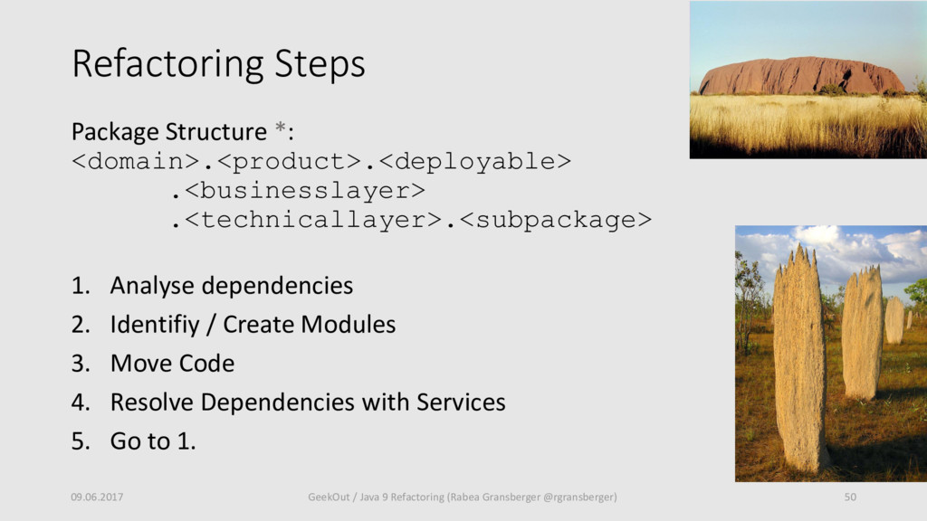 Refactoring Steps Package Structure *: <domain>...