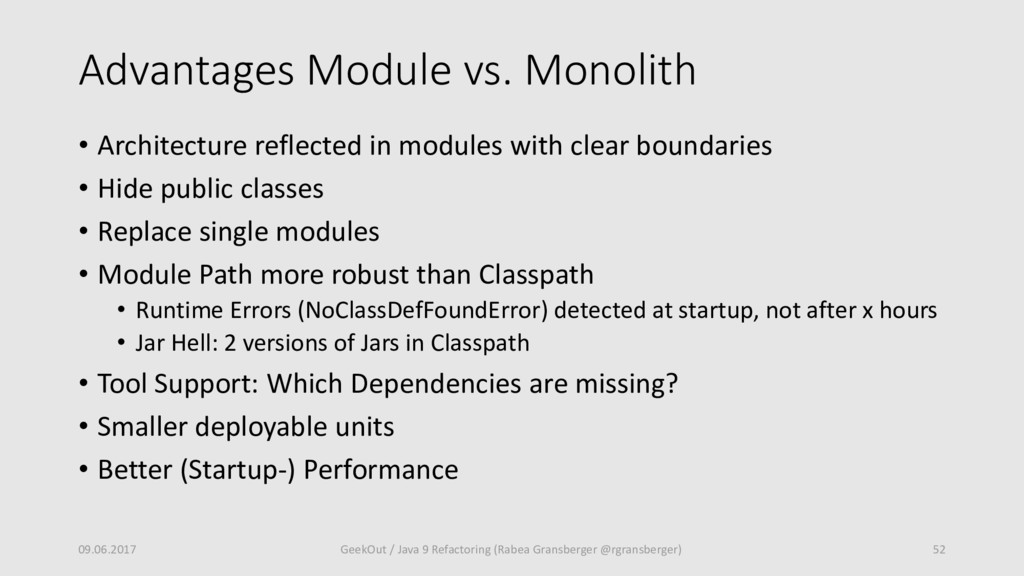 Advantages Module vs. Monolith • Architecture r...