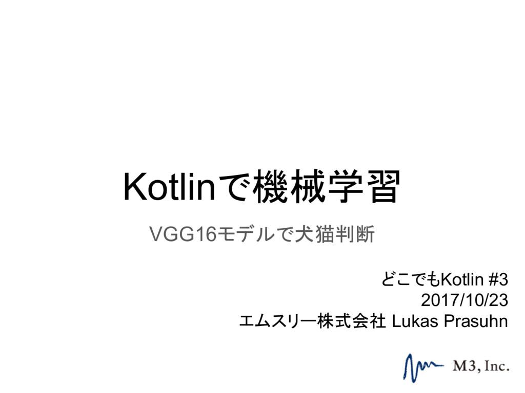 Kotlinで機械学習 VGG16モデルで犬猫判断 どこでもKotlin #3 2017/10...