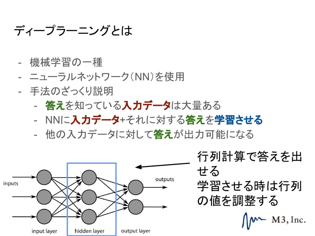 ディープラーニングとは - 機械学習の一種 - ニューラルネットワーク(NN)を使用 - 手法...