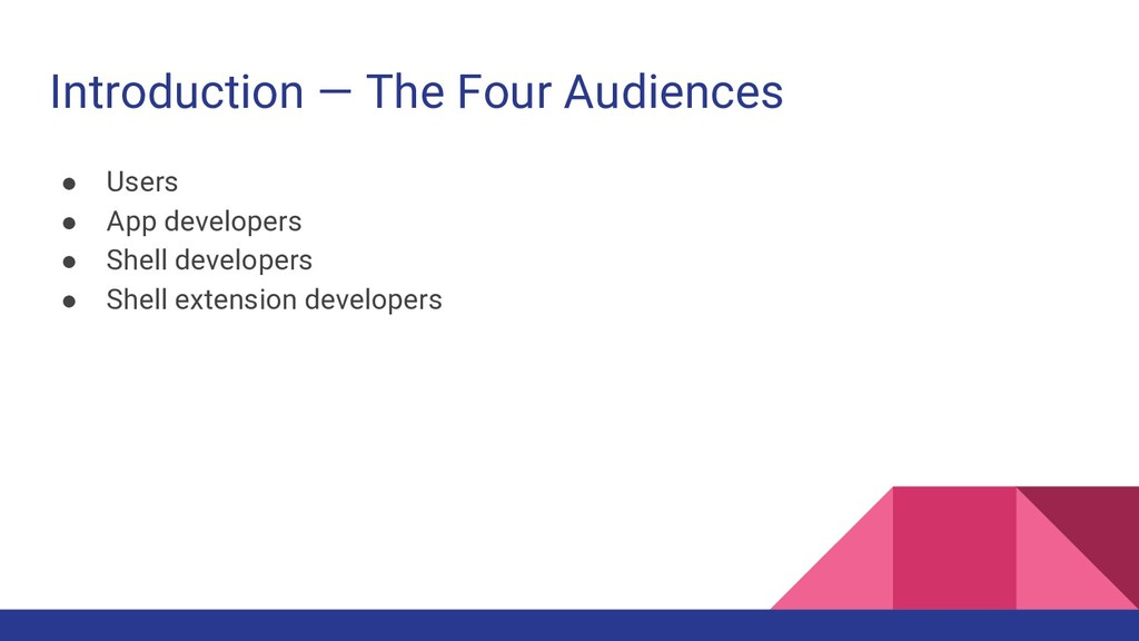Introduction — The Four Audiences ● Users ● App...