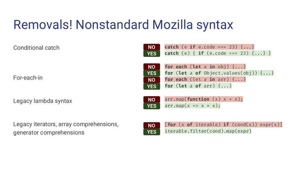 Removals! Nonstandard Mozilla syntax Conditiona...