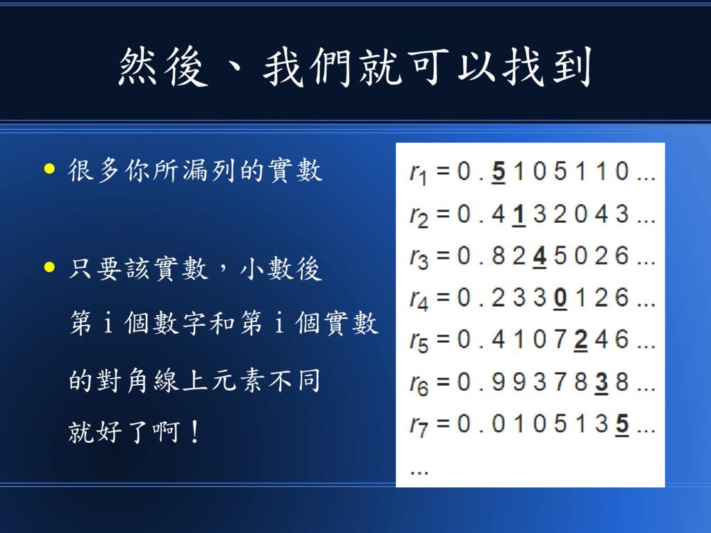 然後、我們就可以找到 ● 很多你所漏列的實數 ● 只要該實數,小數後 第 i 個數字和第 i ...