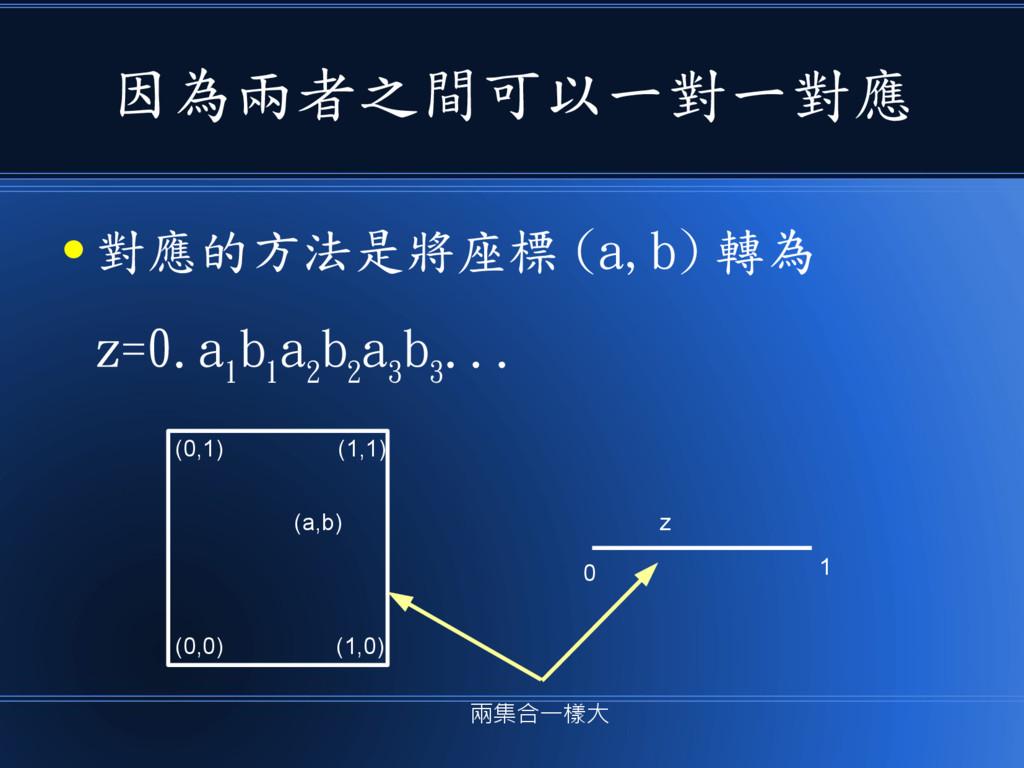 因為兩者之間可以一對一對應 ● 對應的方法是將座標 (a,b) 轉為 z=0.a 1 b 1 ...