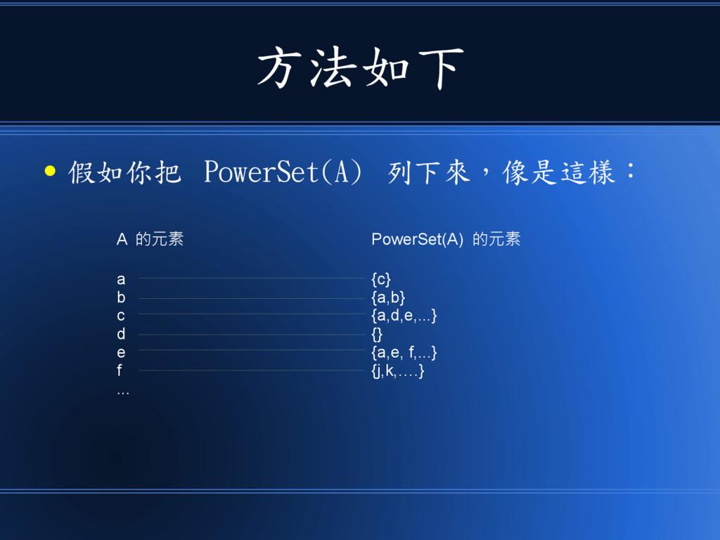 方法如下 ● 假如你把 PowerSet(A) 列下來,像是這樣: A 的元素 a b c d...
