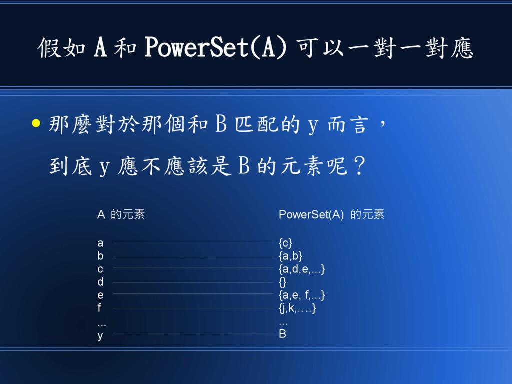 假如 A 和 PowerSet(A) 可以一對一對應 ● 那麼對於那個和 B 匹配的 y 而言...