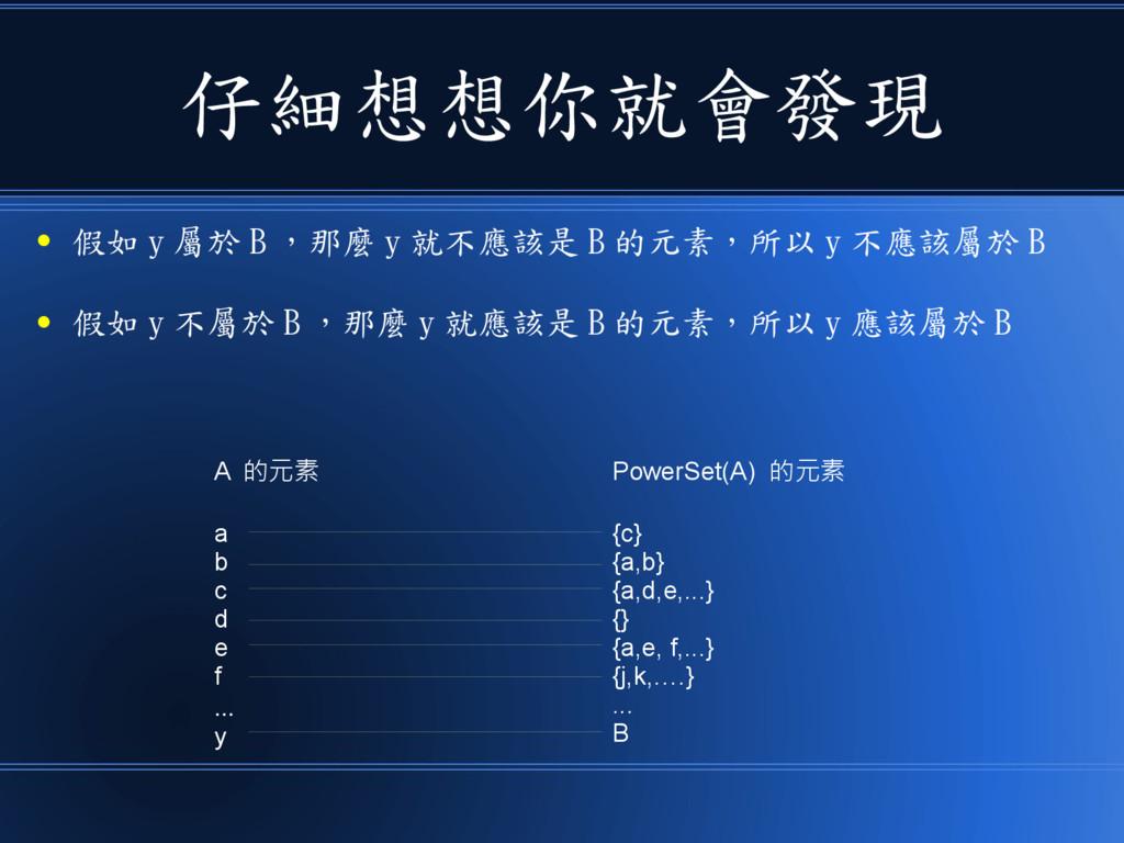 仔細想想你就會發現 ● 假如 y 屬於 B ,那麼 y 就不應該是 B 的元素,所以 y 不應...