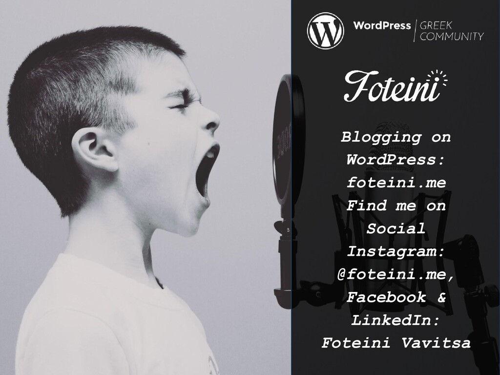 Blogging on WordPress: foteini.me Find me on So...