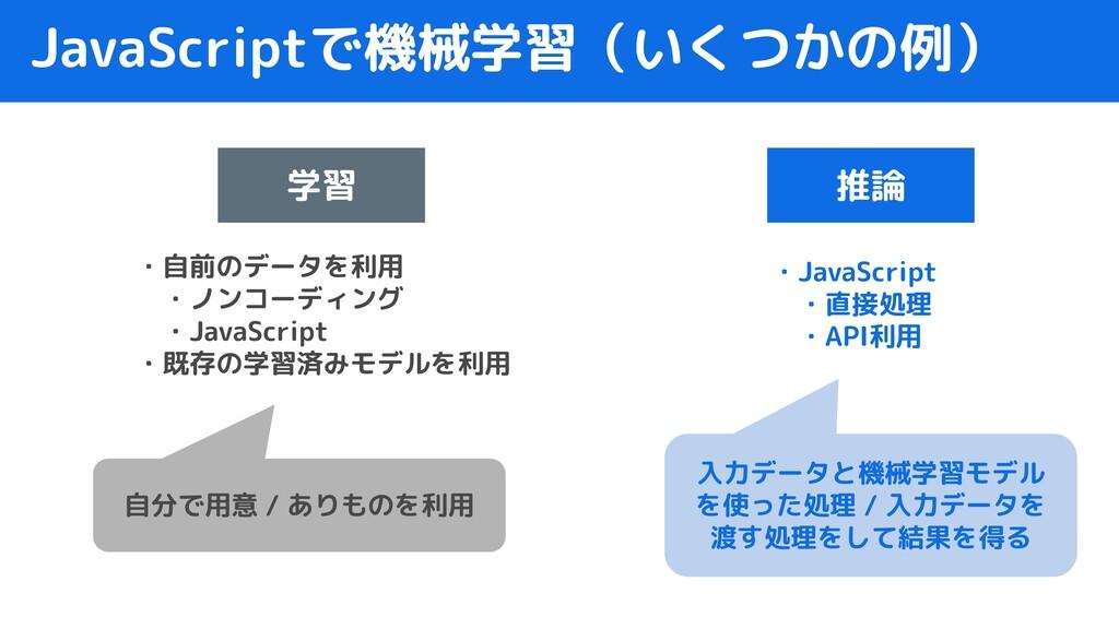 JavaScriptで機械学習(いくつかの例) 学習 推論 ・自前のデータを利用  ・ノンコー...