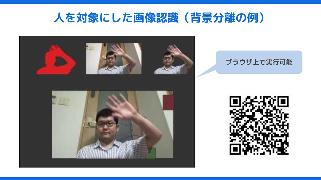 人を対象にした画像認識(背景分離の例) ブラウザ上で実行可能