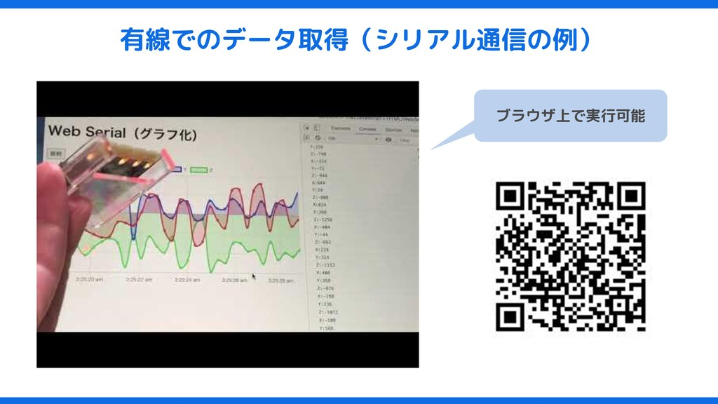 有線でのデータ取得(シリアル通信の例) ブラウザ上で実行可能