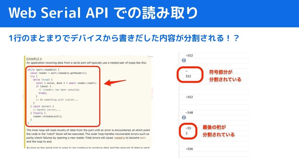Web Serial API での読み取り 1行のまとまりでデバイスから書きだした内容が分割さ...