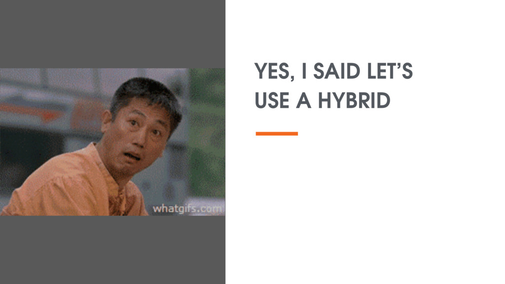 YES, I SAID LET'S USE A HYBRID