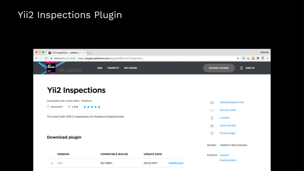 Yii2 Inspections Plugin