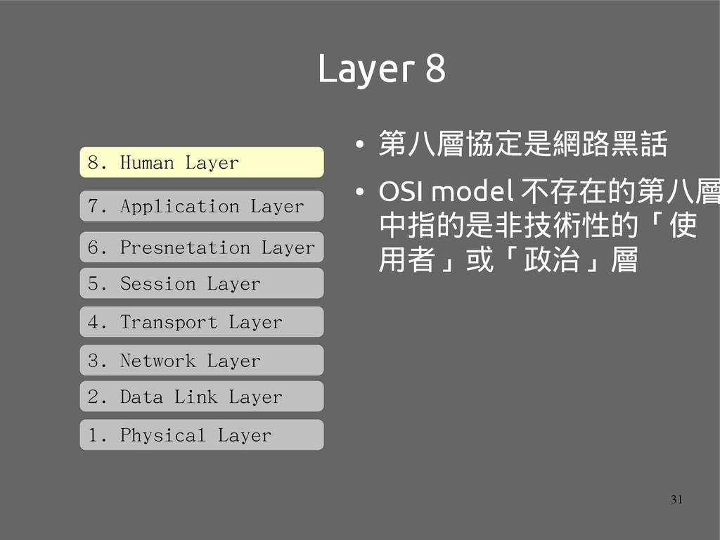 31 Layer 8 ● 第八層協定是網路黑話 ● OSI model 不存在的第八層 中指的...