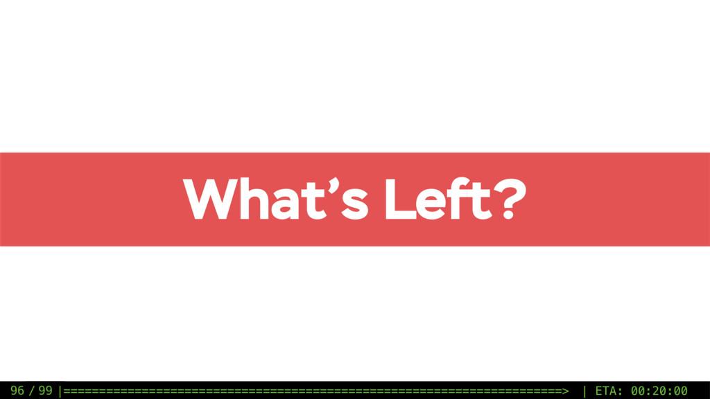 / 99 What's Left? 96 |=========================...