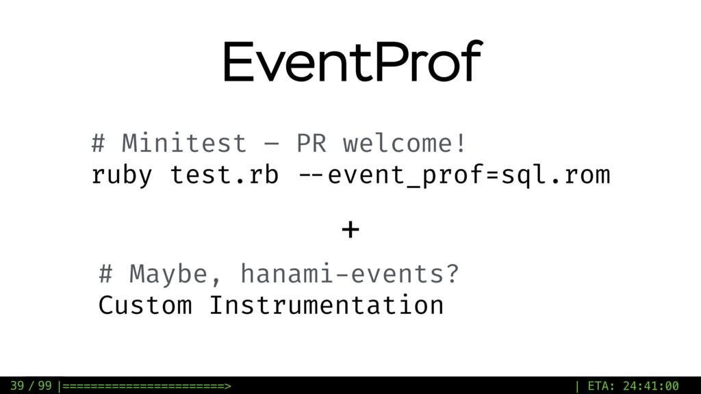 / 99 EventProf 39 # Minitest – PR welcome! ruby...