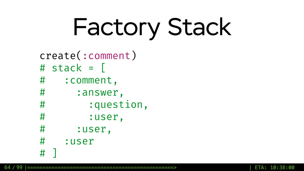 / 99 Factory Stack 64 create(:comment) # stack ...