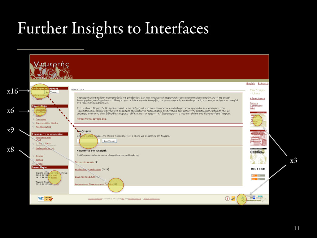 Further Insights to Interfaces 11 x16 x6 x9 x8 ...