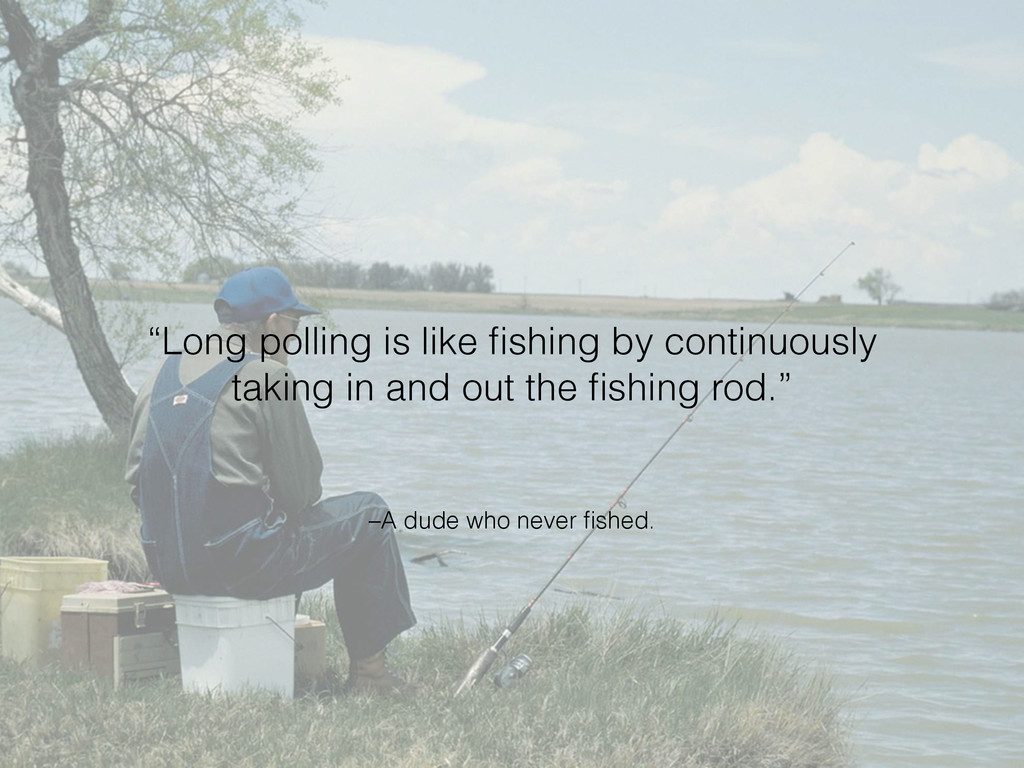 "–A dude who never fished. ""Long polling is like ..."