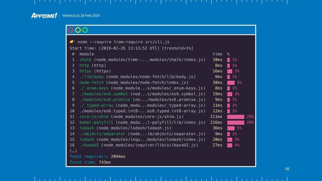 Valencia.js 28 Feb 2019 20 ! node --require tim...
