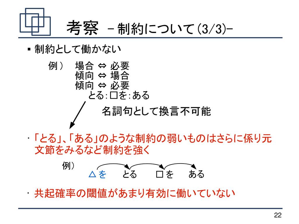 22 考察 - 制約について (3/3)-  制約として働かない 例 ) 場合 ⇔ 必要 傾...