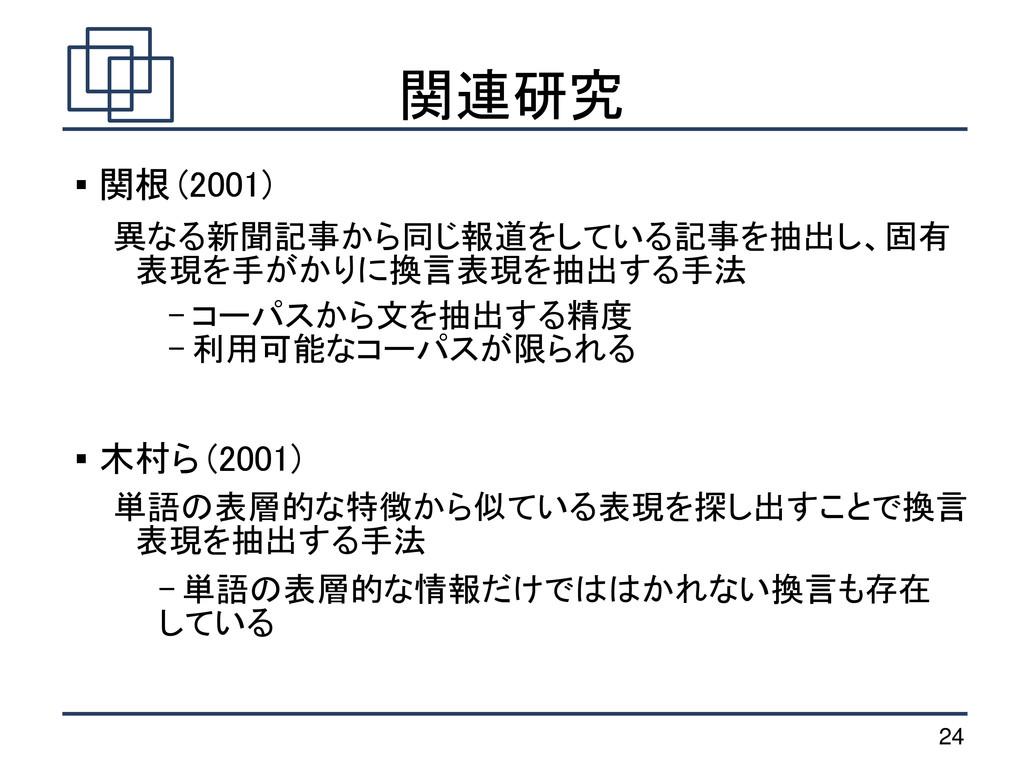 24 関連研究  関根 (2001) 異なる新聞記事から同じ報道をしている記事を抽出し、固有...