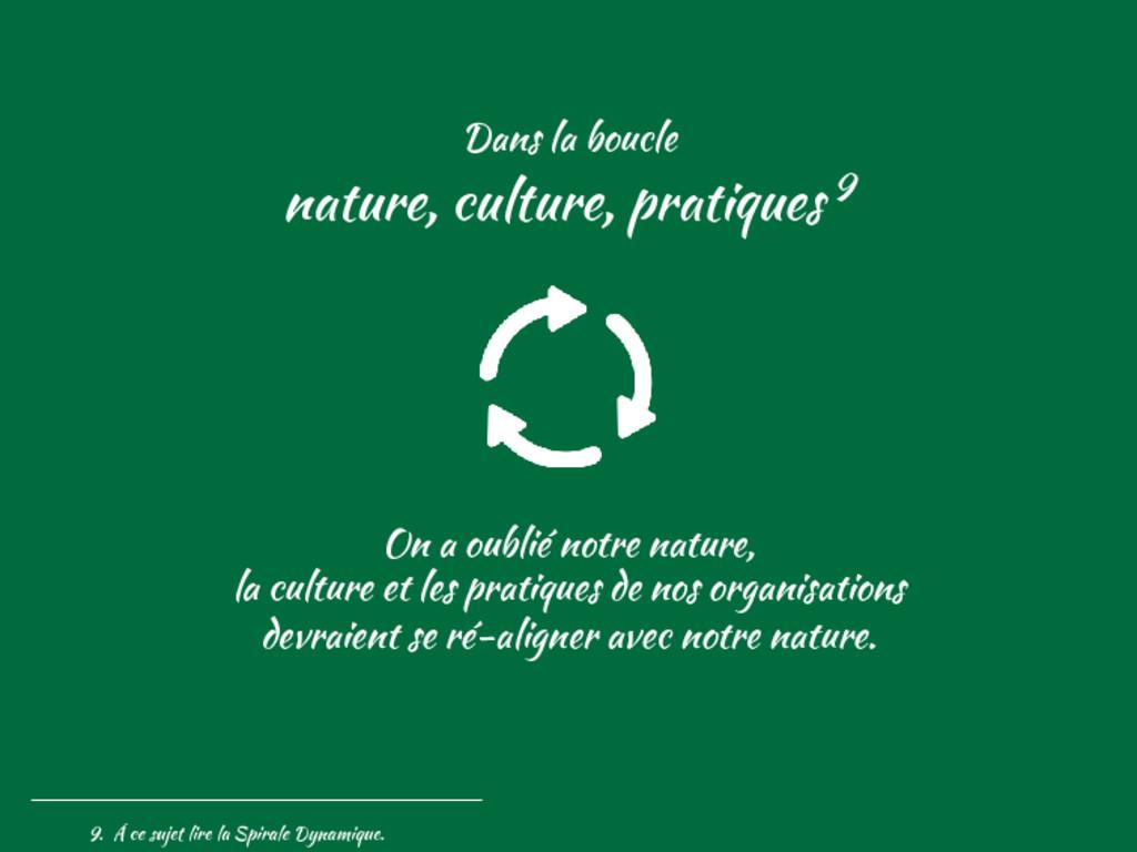 Dans la boucle nature, culture, pratiques 9 On ...
