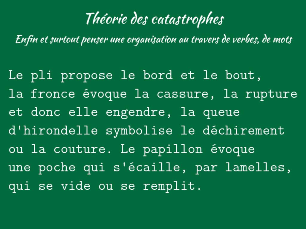 Théorie des catastrophes Enfin et surtout penser...