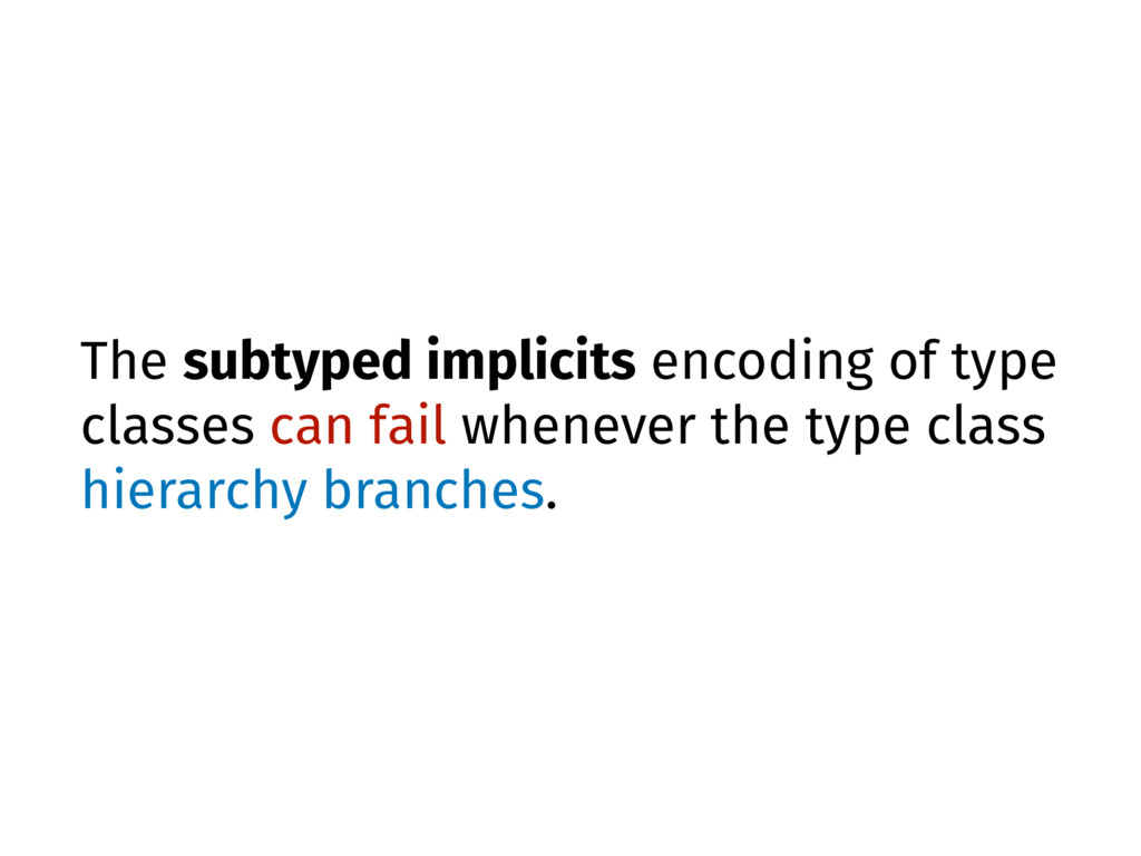The subtyped implicits encoding of type classes...
