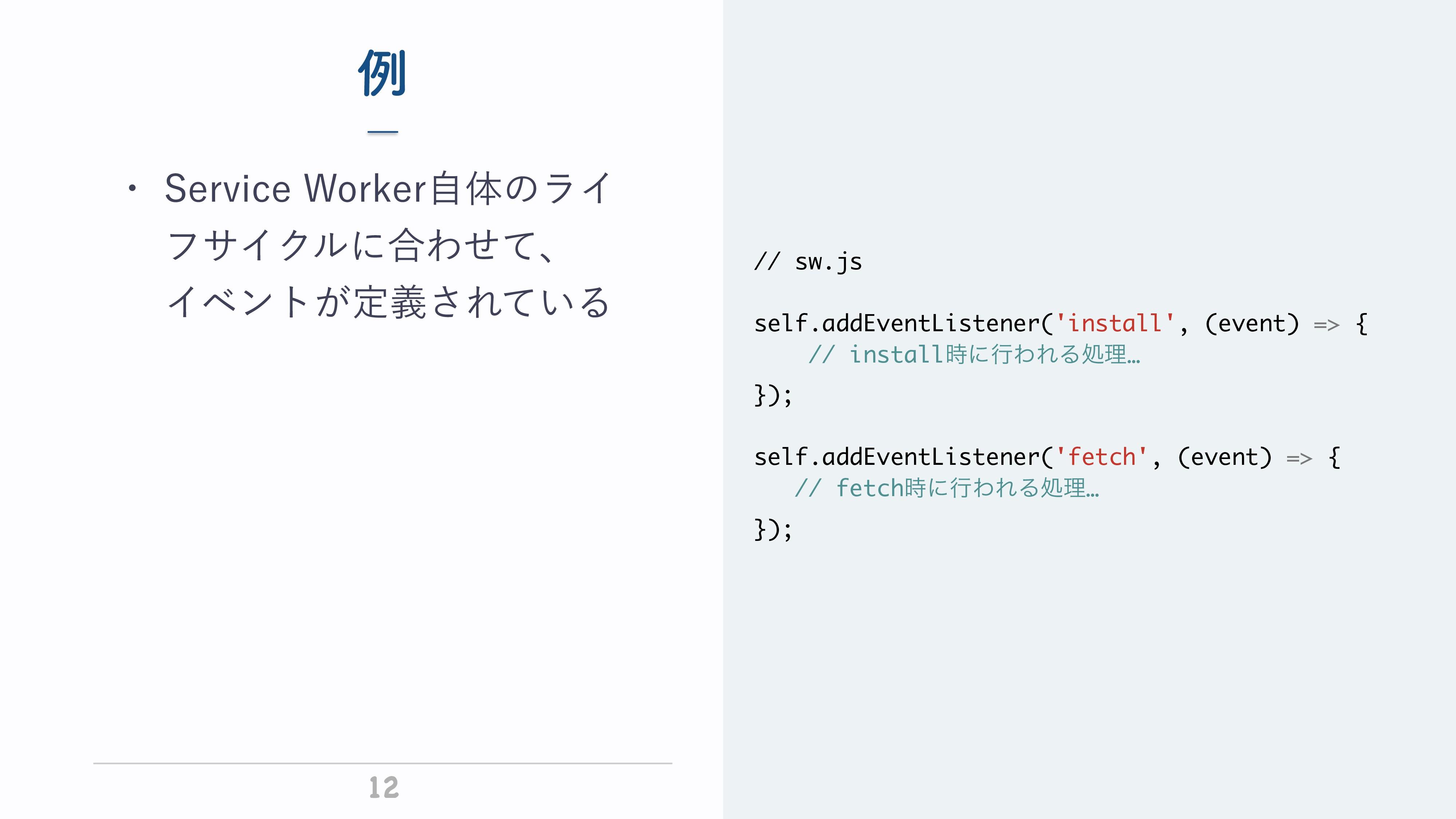 ª 12 ྫ // sw.js self.addEventListener('install'...