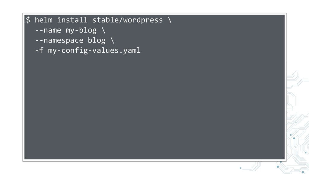 $ helm install stable/wordpress \ --name my-blo...