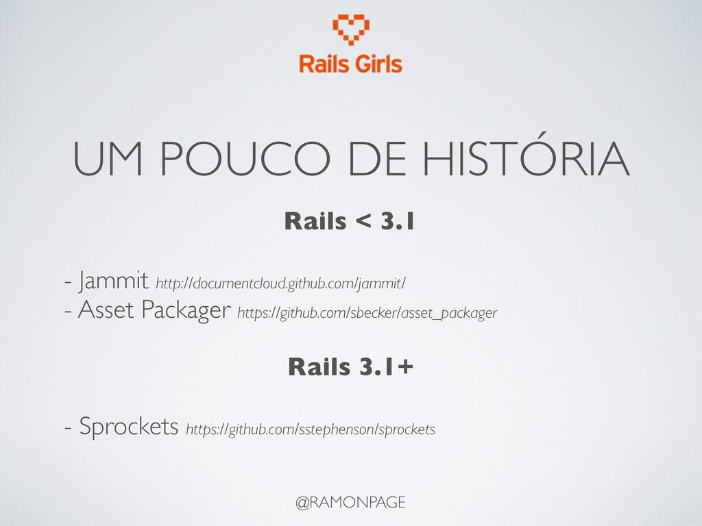 UM POUCO DE HISTÓRIA Rails < 3.1 - Jammit http:...