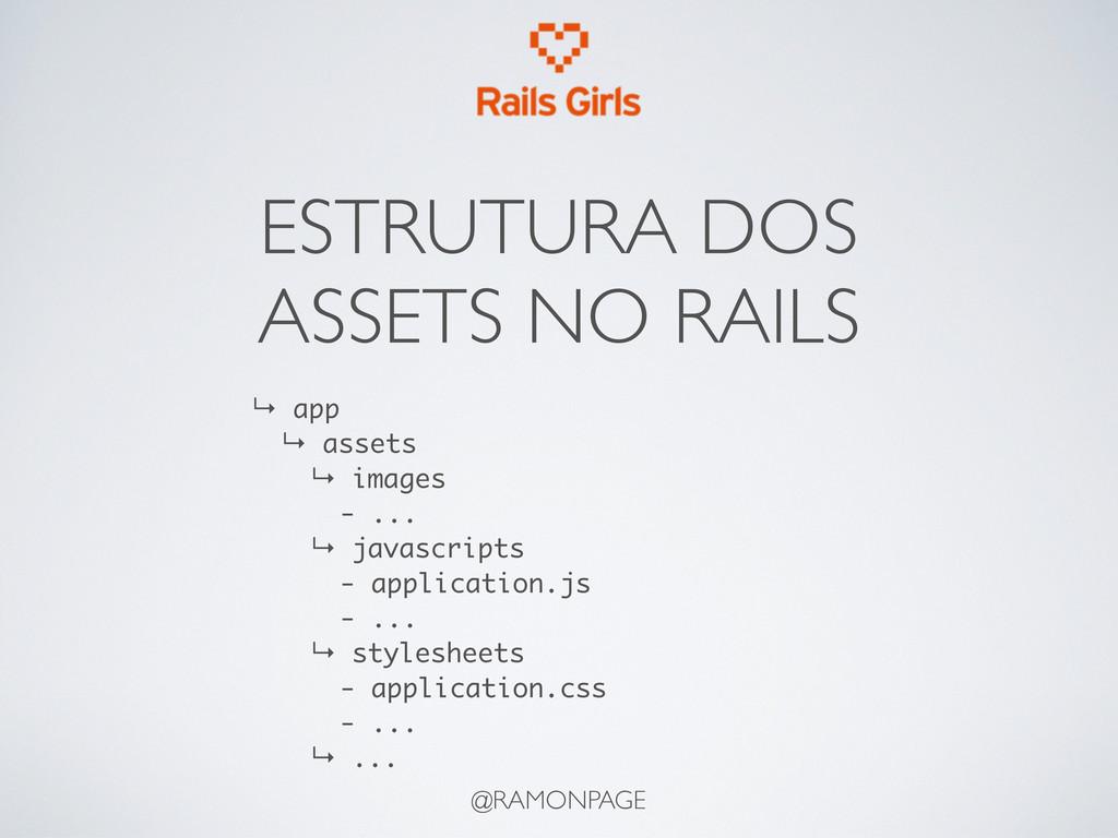 ESTRUTURA DOS ASSETS NO RAILS @RAMONPAGE ↳ app ...