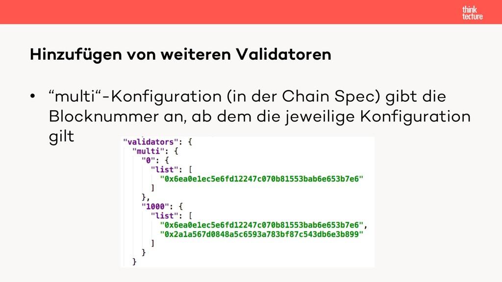 """• """"multi""""-Konfiguration (in der Chain Spec) gib..."""