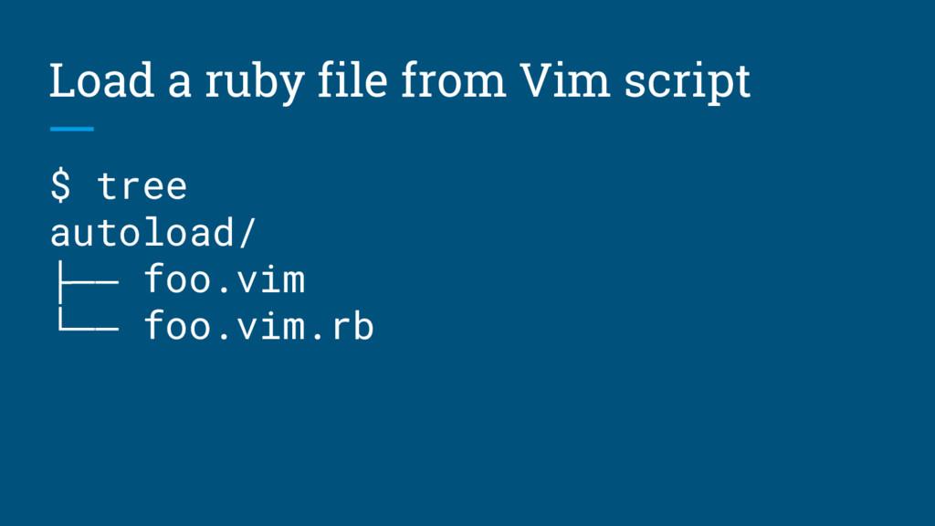 Load a ruby file from Vim script $ tree autoloa...
