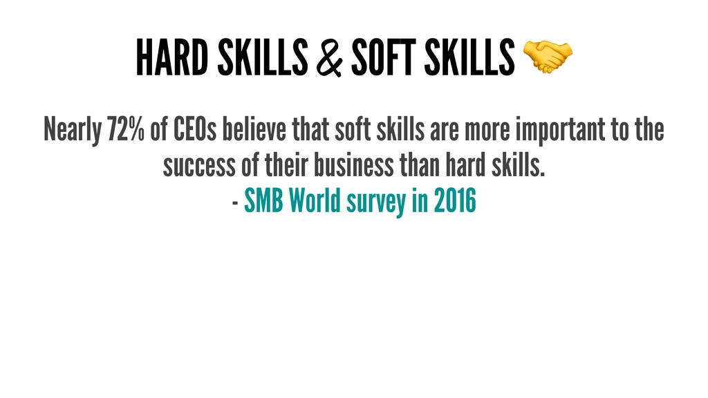 HARD SKILLS & SOFT SKILLS Nearly 72% of CEOs be...