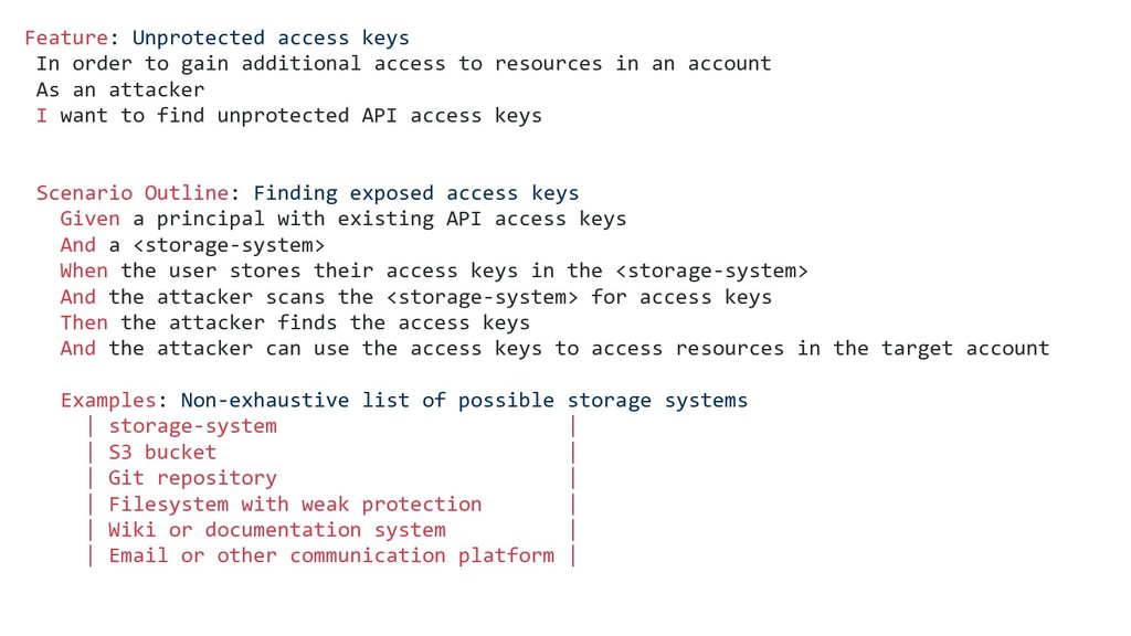 Feature: Unprotected access keys In order to ga...