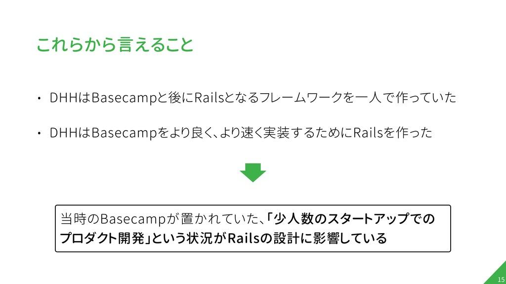 これらから言えること • DHHはBasecampと後にRailsとなるフレームワークを一人で...