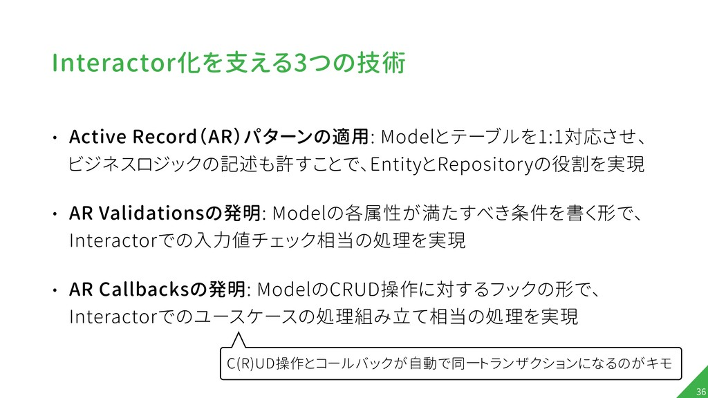 Interactor化を支える3つの技術 • Active Record(AR)パターンの適用...