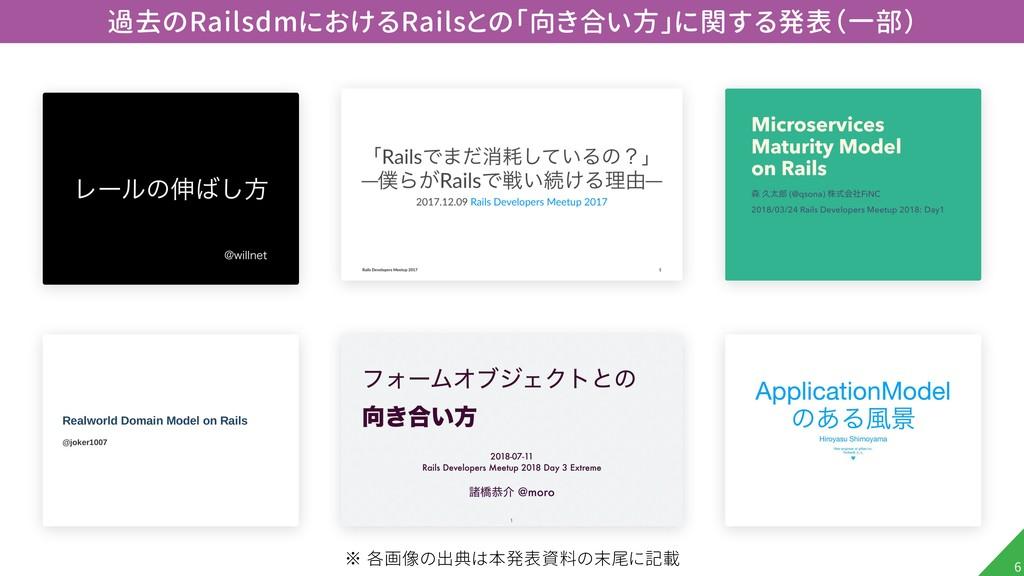 !6 過去のRailsdmにおけるRailsとの「向き合い方」に関する発表(一部) ※ 各画像...