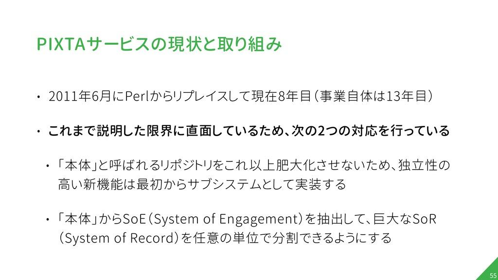 PIXTAサービスの現状と取り組み • 2011年6月にPerlからリプレイスして現在8年目(...