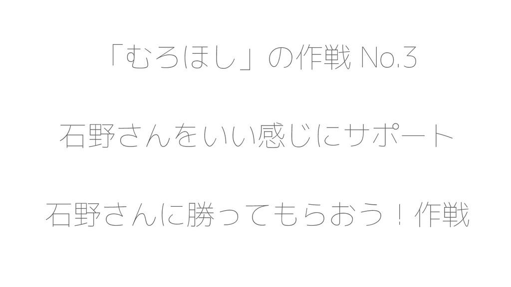 「むろほし」の作戦 No.3 石野さんをいい感じにサポート 石野さんに勝ってもらおう!作戦